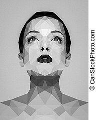 polygonal, image, femme, noir, blanc