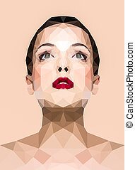 Polygonal image of a woman