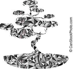 polygonal japanese bonsai tree illustration