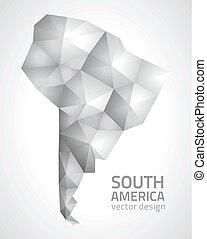 polygonal, karta, amerika, grå, syd