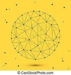 polygonal, koło, wektor, nowoczesny, przestrzeń