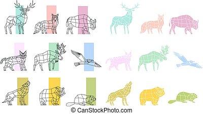 polygonal, komplet, zwierzęta, linearny