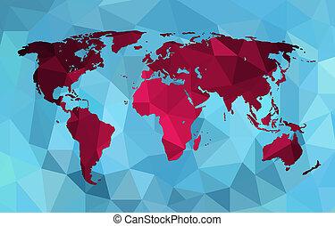polygonal, landkarte, stil, hintergrund, welt