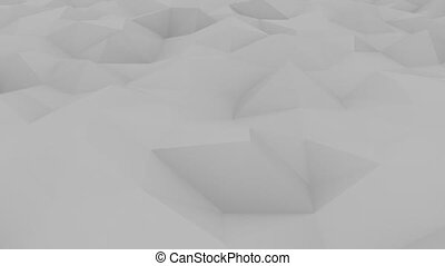 Polygonal light gray motion background. Loopable animation