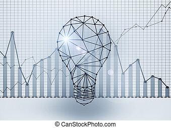 polygonal, lightbulb, z, handlowy, wykresy