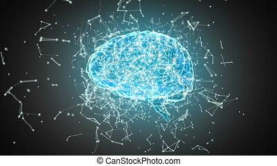 polygonal, lignes, connecter, cerveau, points