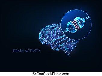 polygonal, mänsklig, låg, synapses, begrepp, glödande,...