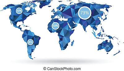 polygonal, mapa, elementos, mundo, infographic