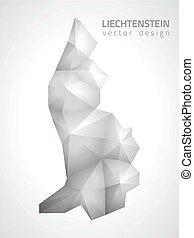 polygonal, mapa, liechtenstein, vector, gris