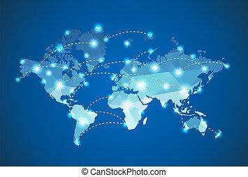 polygonal, mapa, punto, mundo, luz