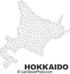 polygonal, mapa, vector, hokkaido, malla
