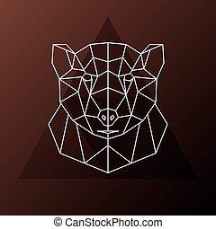 polygonal, marrom, cabeça, abstratos, bear.
