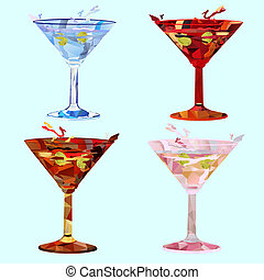 polygonal martini glasses