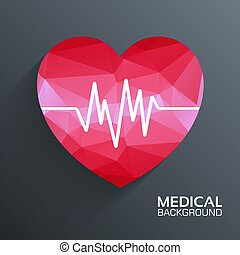 Polygonal  medical heart vector background concept. Illustration template for web and mobile