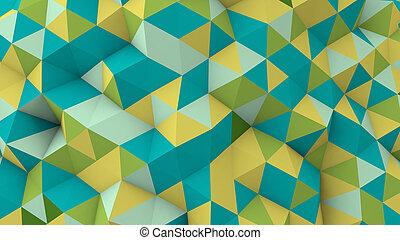 polygonal, mehrfarbig, oberfläche, geometrisch