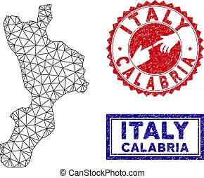 Polygonal Mesh Calabria Region Map and Grunge Stamps - Mesh...