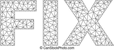 Polygonal Mesh FIX Text Tag - Mesh vector FIX text. Abstract...