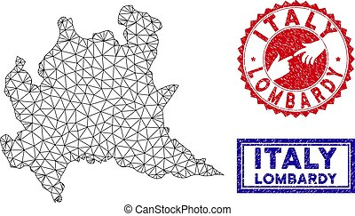 Polygonal Mesh Lombardy Region Map and Grunge Stamps - Wire...