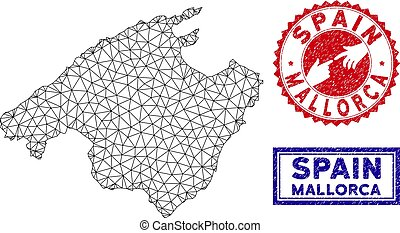 Polygonal Mesh Mallorca Map and Grunge Stamps - Network...