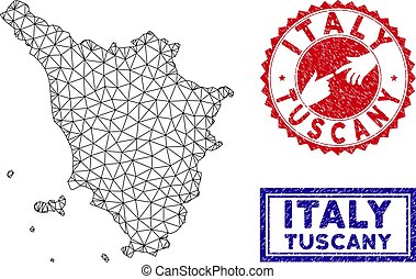 Polygonal Mesh Tuscany Region Map and Grunge Stamps - Wire...