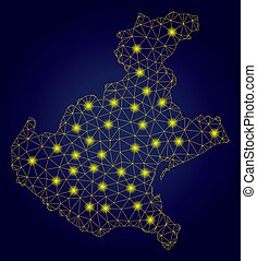 Polygonal Mesh Yellow Veneto Region Map with Light Spots -...