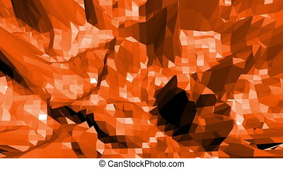 Polygonal mosaic background with vertex, spikes in cartoon modern 3D design. Abstract transforming orange low poly surface as atom structure in stylish low poly design. Orange low poly.