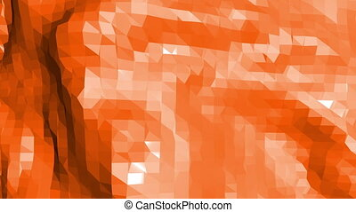 Polygonal mosaic background with vertex, spikes in cartoon modern 3D design. Abstract transforming orange low poly surface as fantasy background in stylish low poly design. Orange low poly.