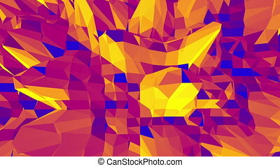Polygonal mosaic background with vertex, spikes in cartoon modern 3D design. Abstract transforming orange low poly surface as surreal terrain in stylish low poly design. Orange low poly.