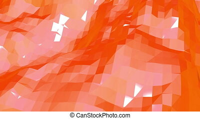 Polygonal mosaic background with vertex, spikes in cartoon modern 3D design. Abstract transforming orange low poly surface as cartoon background in stylish low poly design. Orange low poly.