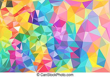 polygonal, mosaic., květ, barvitý