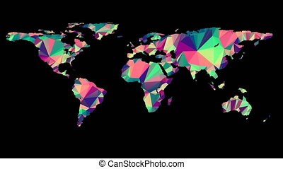 Polygonal Multicolored Earth Map. Seamless Looped Animation...