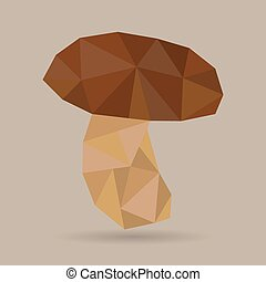 polygonal mushroom, vector illustration