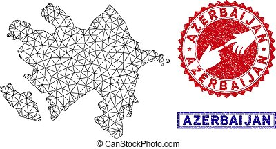 Polygonal Network Azerbaijan Map and Grunge Stamps