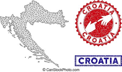 Polygonal Network Croatia Map and Grunge Stamps