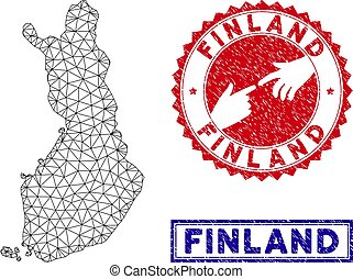 Polygonal Network Finland Map and Grunge Stamps