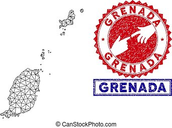 Polygonal Network Grenada Map and Grunge Stamps