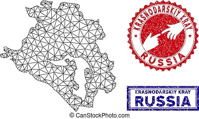 Polygonal Network Krasnodarskiy Kray Map and Grunge Stamps...