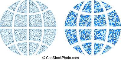 Polygonal Network Mesh Globe and Mosaic Icon