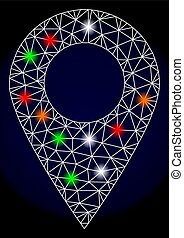 Polygonal Network Mesh Local Map Marker with Colorful Light Spots