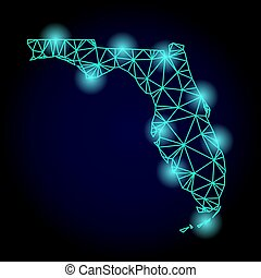 Polygonal Network Mesh Map of Florida State with Light Spots