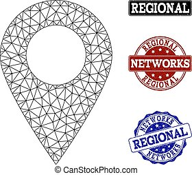 Polygonal Network Mesh Vector Local Map Marker and Network Grunge Stamps