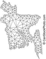 Polygonal Network Mesh Vector Map of Bangladesh