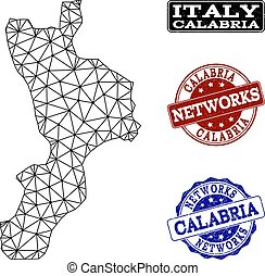 Polygonal Network Mesh Vector Map of Calabria Region and...