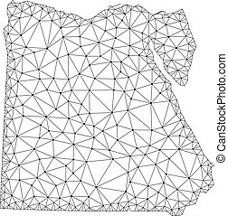 Polygonal Network Mesh Vector Map of Egypt