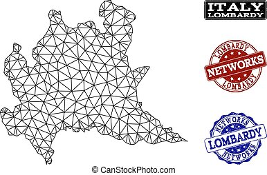 Polygonal Network Mesh Vector Map of Lombardy Region and...