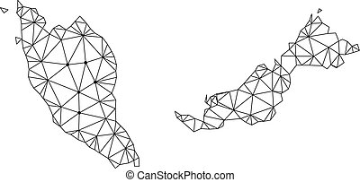 Polygonal Network Mesh Vector Map of Malaysia