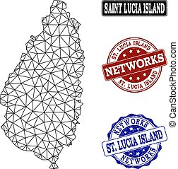 Polygonal Network Mesh Vector Map of Saint Lucia Island and Network Grunge Stamps