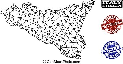 Polygonal Network Mesh Vector Map of Sicilia Island and...