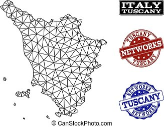 Polygonal Network Mesh Vector Map of Tuscany Region and...