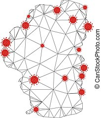 Polygonal mesh Tahoe Lake map with coronavirus centers. Abstract mesh connected lines and covid- 2019 viruses form Tahoe Lake map. Vector wireframe 2D polygonal network in black and red colors.